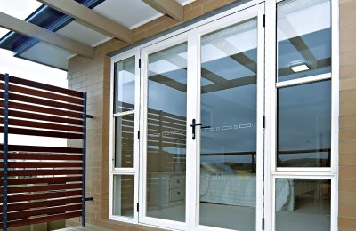 Essential French doors (open in screens N/A) with double hung over fixed lite side lites (without screens)