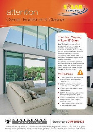 Solar Glass Care Instructions